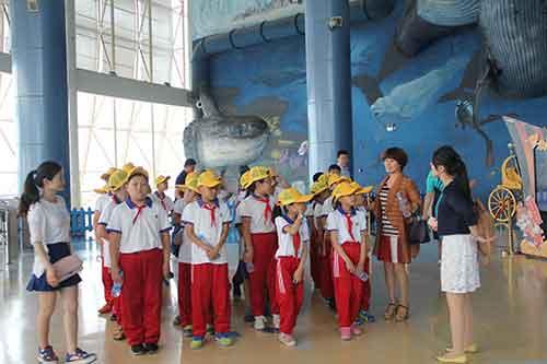 学生们在天津海昌极地海洋世界参观